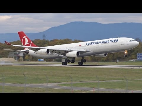 [FullHD] Turkish Airlines Airbus A340-300 landing at Geneva/GVA/LSGG