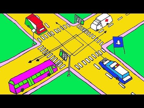 cách vẽ tranh đề tài an toàn giao thông đơn giản - Vẽ tranh đề tài An toàn giao thông | Xe nào được quyền đi trước | Draw Traffic - Concung Channel