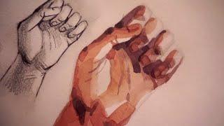 Рисую руки акварелью | Процесс | Моя любимая песня| Мастерская Марии(В этом видео я вам покажу процесс рисования руки! Если вы хотите, чтобы я рассказала вам о том, как я ее рисов..., 2016-06-25T08:14:15.000Z)