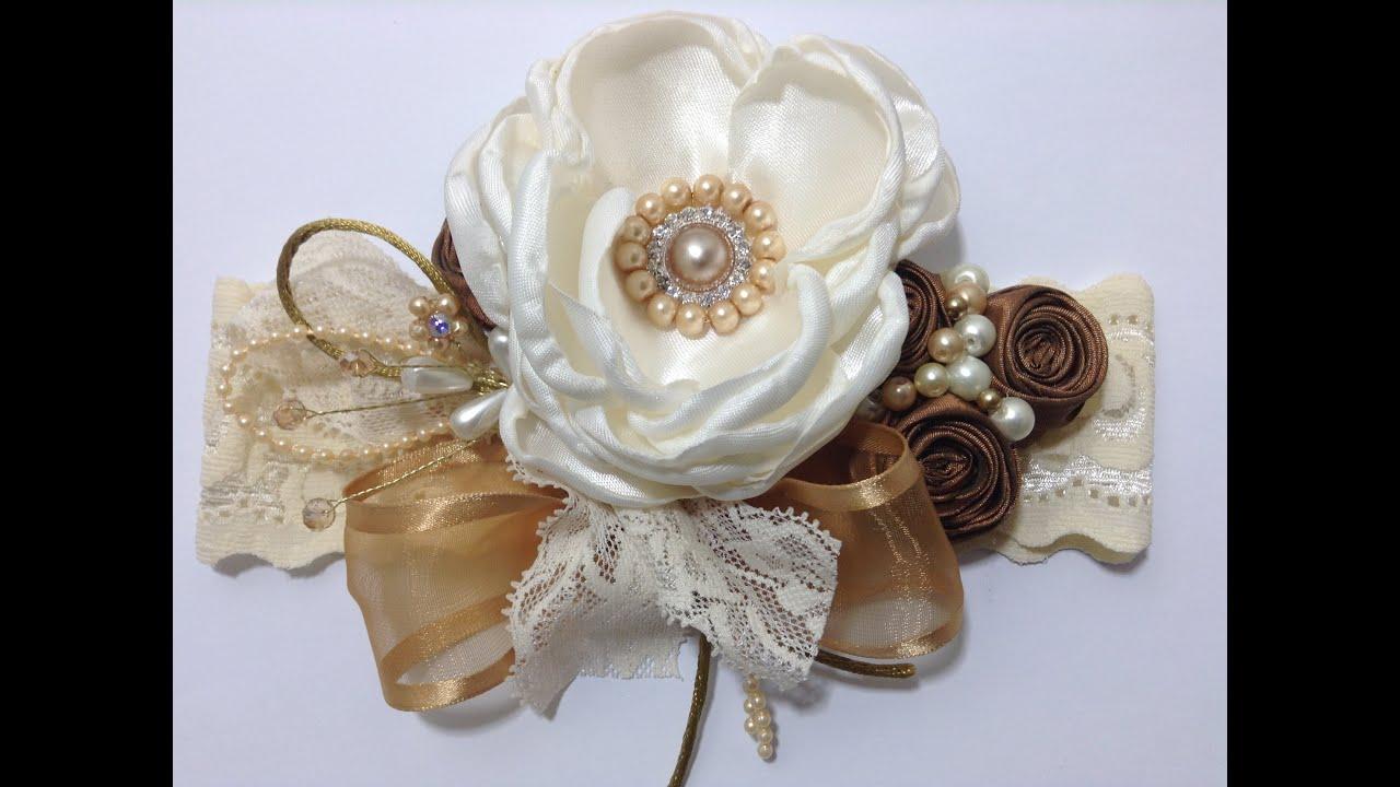 Tiara con flores de tela y lindos detalles video no 339 youtube - Flores de telas hechas a mano ...