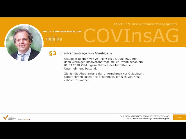 COVInsAG: Teil 4, Insolvenzanträge von Gläubigern (Insolvenzaussetzungsgesetz)