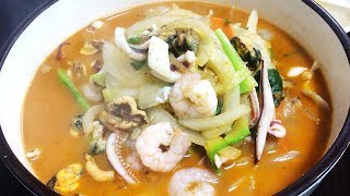 해물 짬뽕   Korean Food - Jjamppong (spicy seafood noodle soup) 韓国のちゃんぽん