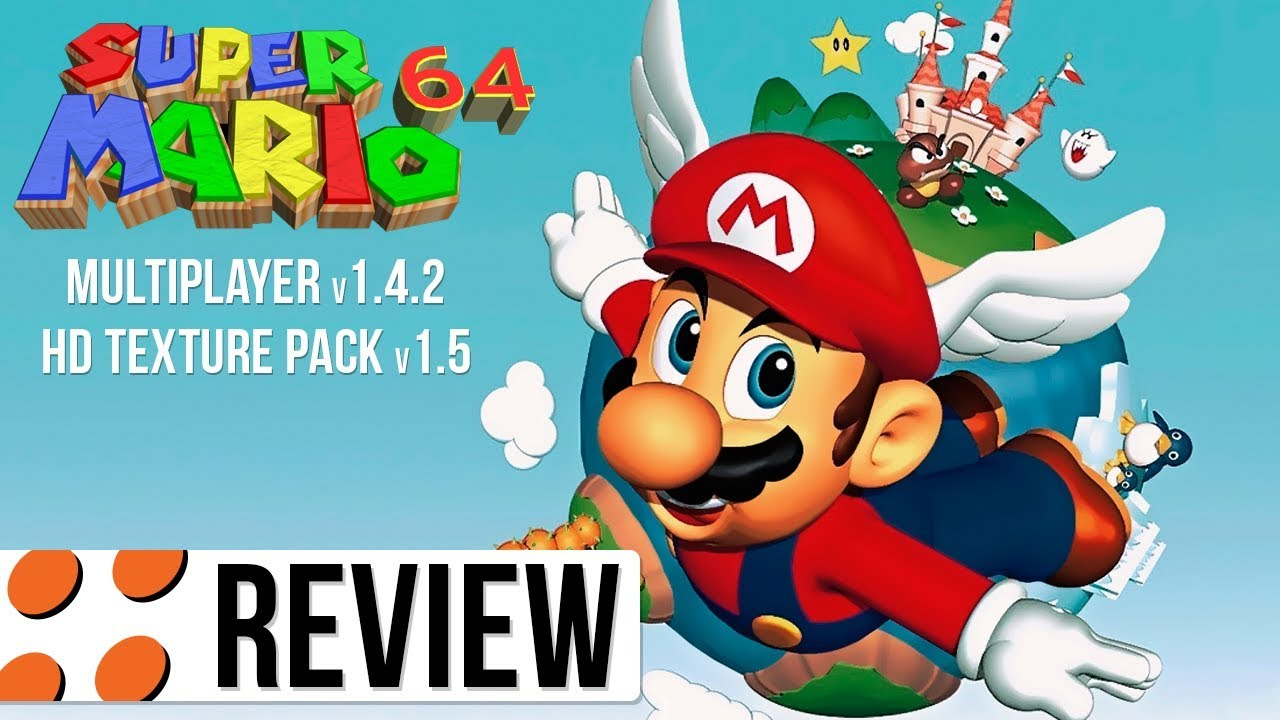 Super Mario 64, Multiplayer v1 4 2, & HD Texture Pack v1 5 Video Review
