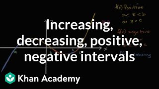 Intervals When Function Is Increasing, Decreasing, Postive Or Negative