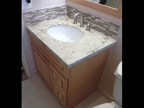 How To Install Vanity,Granite Top,Stone Glass Backsplash& Schluter bt TilingInfo