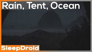 ► Rain in a Tęnt by the Ocean ~Rainstorm and Ocean Wave Sounds for Sleeping, Night 10 hours (lluvia)