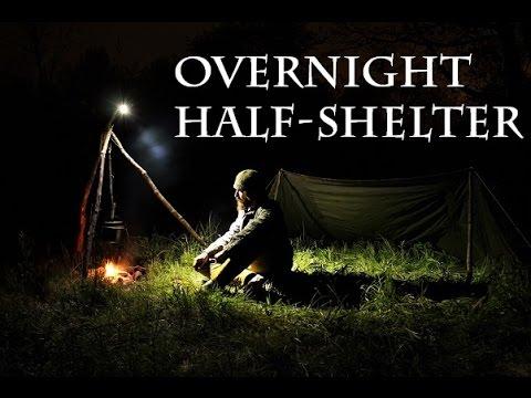 Overnight Bushcraft In Military Half-Shelter
