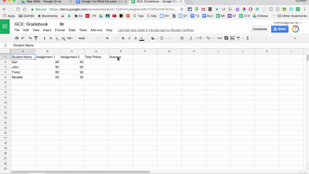 Google Sheets: Create a Gradebook and Share