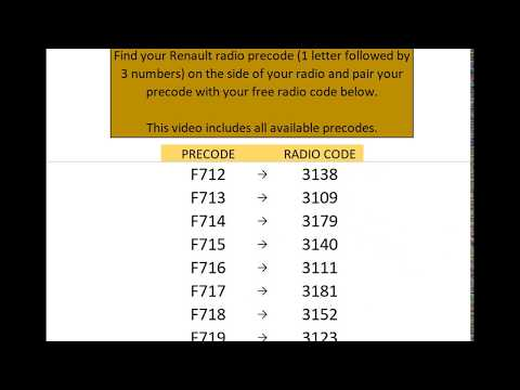 Free Renault Radio Codes (Unified) - YouTube