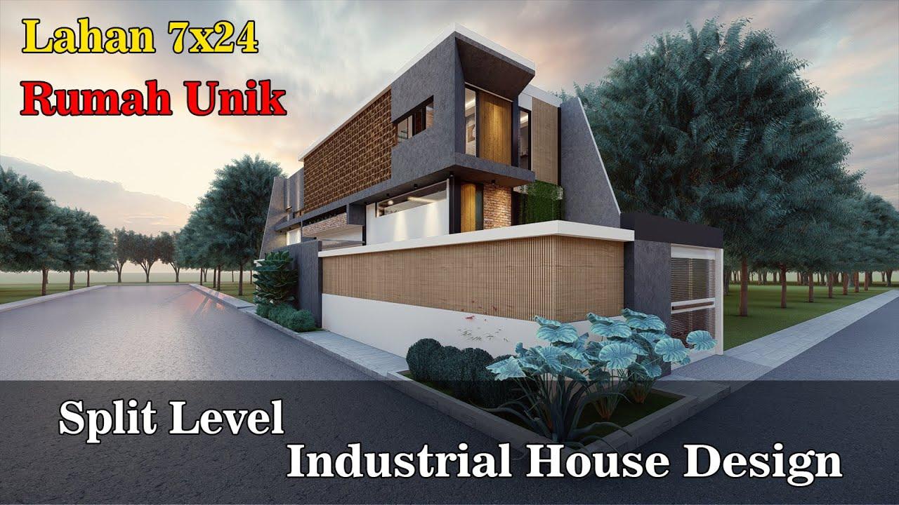 Download Desain Rumah Modern Industrial lahan 7x24, split level yang unik..Part 1. Tartur #11 - ELteam studio