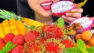 *ASMR EATING* COLORFUL FRUIT PLATTER TROPICAL EXOTIC FRUITS 먹방 Eating Sounds MUKBANG [NO TALKING]