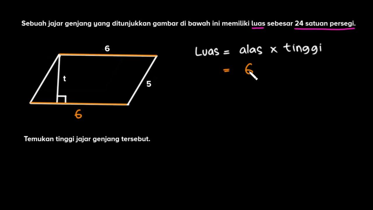 Mencari Tinggi Jajar Genjang Keliling Dan Luas Matematika Khan Academy Youtube
