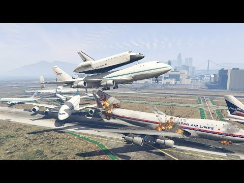 GTA 5 | NASA Shuttle Plane Crash Into Boeing 747 When Trying To Escape