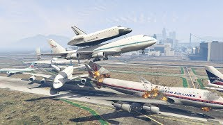 GTA 5 | NASA Shuttle Plane Crash Into Boeing 747 When Trying To Escape
