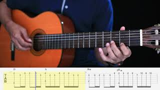 Canon in D - Fingerstyle Guitar Tutorial TAB + Chord