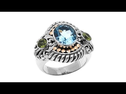 Bali Designs 3.44ctw Sky Blue Topaz and Peridot Ring. http://bit.ly/2x5bwRx