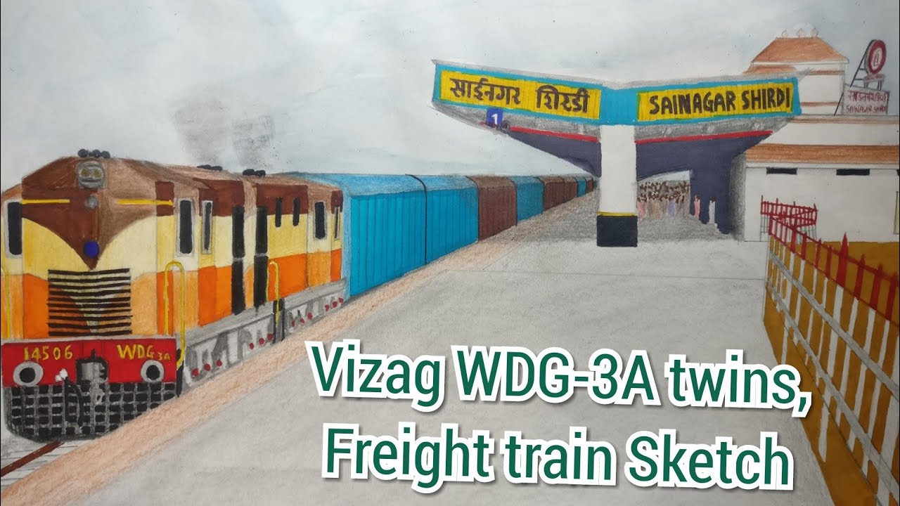 Drawing Double headed WDG-3A locomotive with closed wagons, at Sainagar  Shirdi station