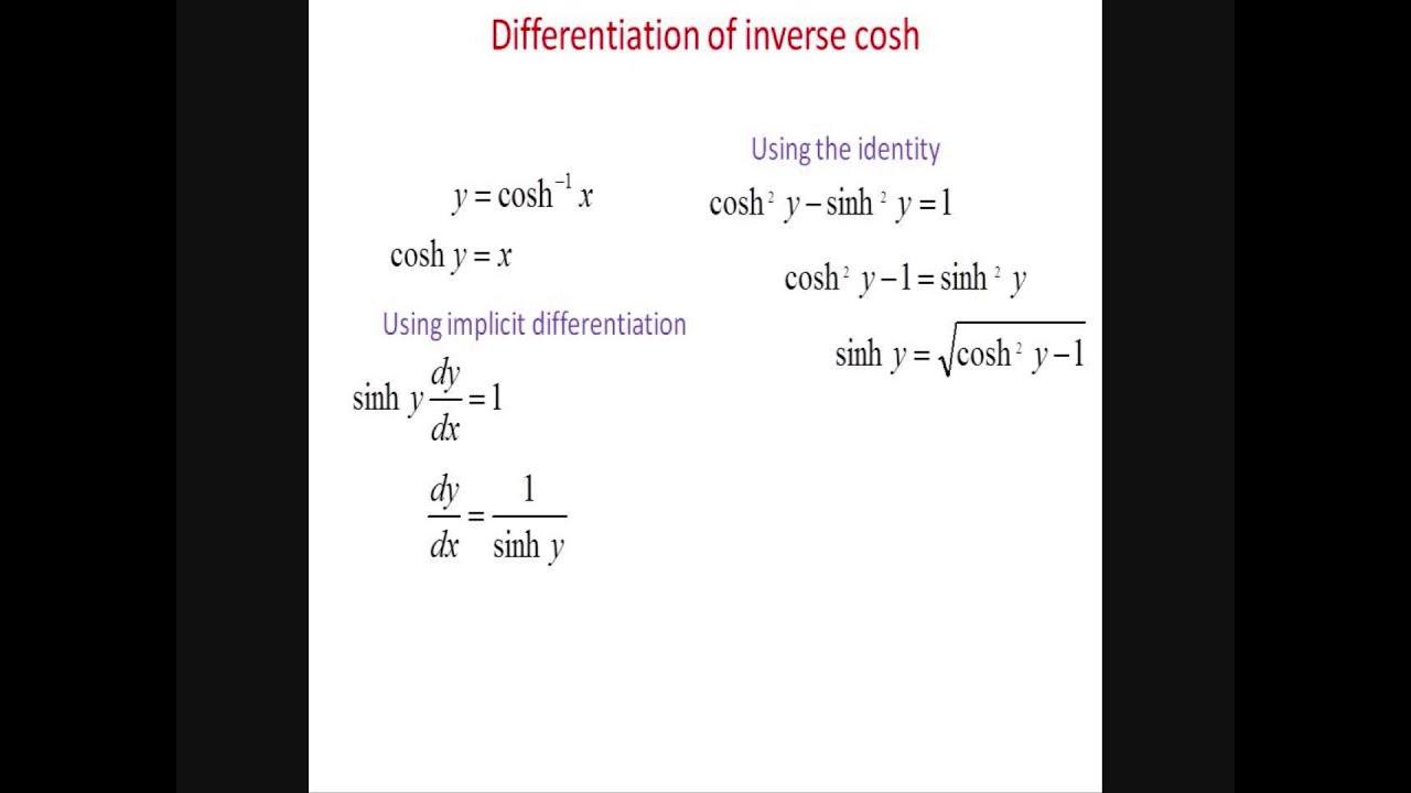 Differentiation Of Inverse Cosh Cosh 1 X Youtube