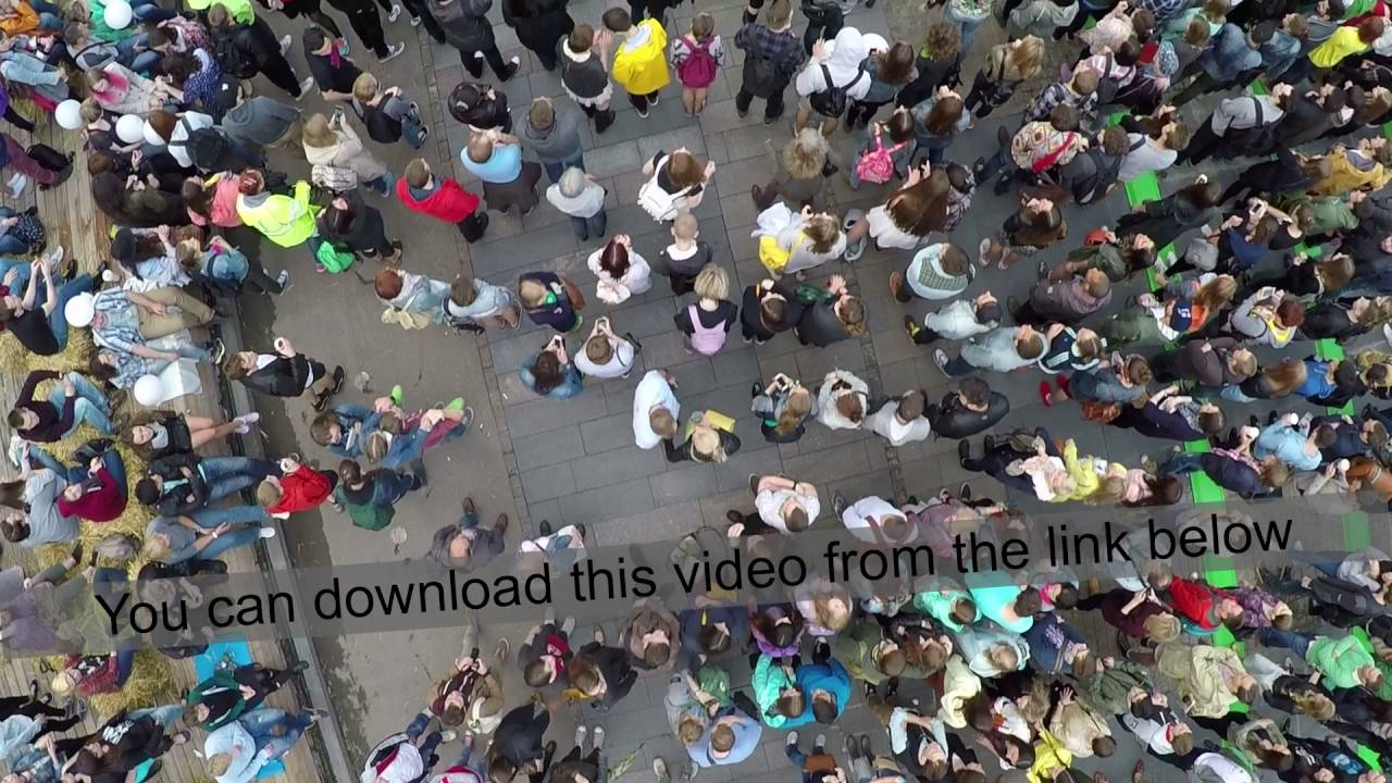 People Crowd On City Concert Aerial View
