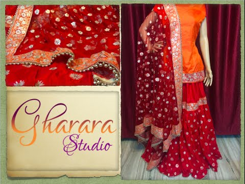 bcf7505730 Silk Gharara in Red & Orange colour || Hand Embroidery || GHARARA STUDIO -  YouTube