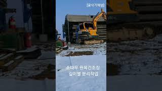 [굴삭기채널]02장비집게작업소나무원목분류타임랩스