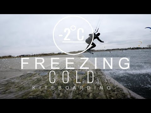Surfing cold conditions - #kiteboarding winter in Denmark