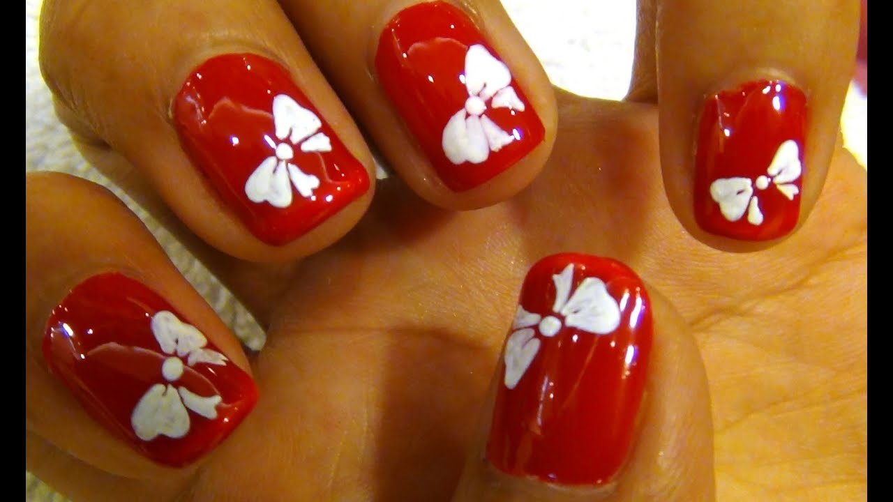 Nail Art Tutorial For Beginners - Cute Bow - YouTube