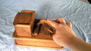 Vintage Mechanical Wooden Cigarette Storage Box