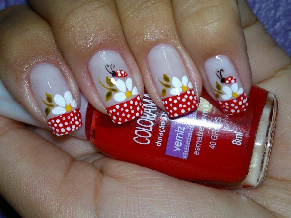 unhas decoradas Flores vermelhinho