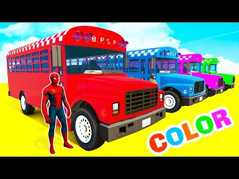 Thumbnail: LEARN COLORS SCHOOL BUS & Bmx Bikes - Color Spiderman Cars in Superheroes Cartoon for Babies