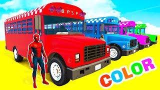 LEARN COLORS SCHOOL BUS & Bmx Bikes - Color Spiderman Cars in Superheroes Cartoon for Babies