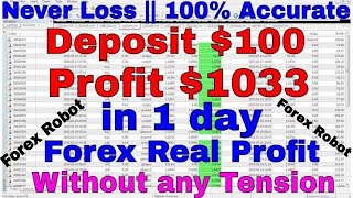 💥 $1033 Profit in 1 Day with Deposit Balance $100 || 💥100% Accurate Forex Robot Vpro-10