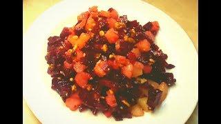 Легкий диетический салат со свеклой и ананасами