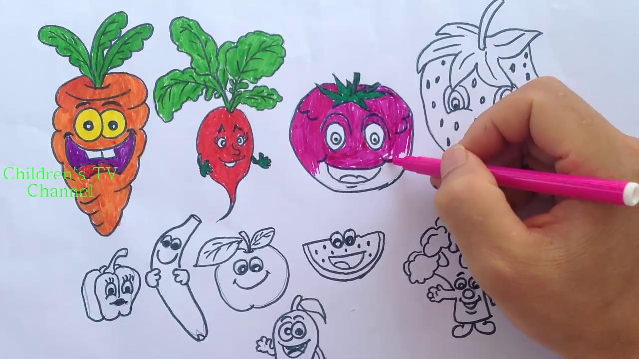Dibujos Para Colorear Hortalizas Animación Colorear Verduras Para Niños Aprendiendo