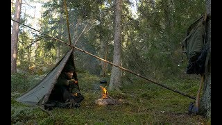 Bushcraft Tripod Shelter - Alone With A Canvas Poncho Deep in the Swedish Wilderness