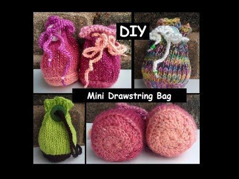 Mini Drawstring Bag Knit Crochet Pattern Tutorial Youtube