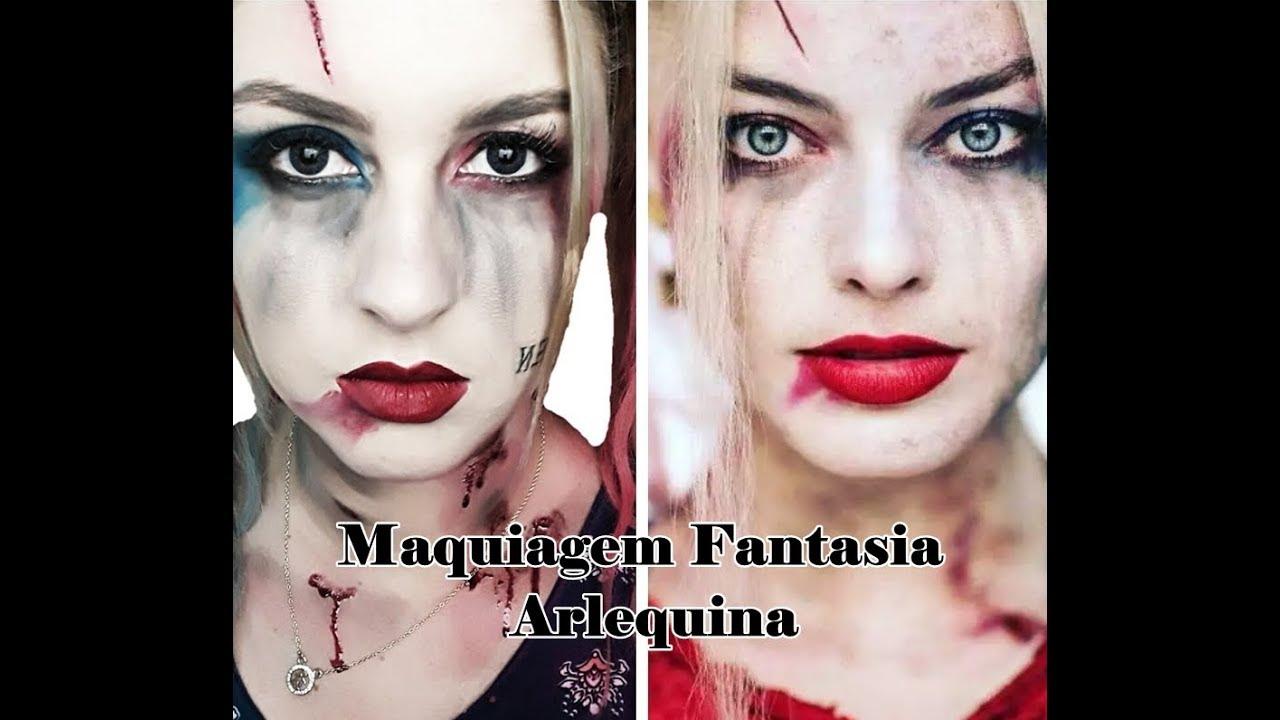 ad91eb117 Maquiagem artística Arlequina (Esquadrão Suicida) - YouTube