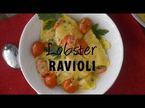 Lobster Ravioli with Tomato Cream Sauce