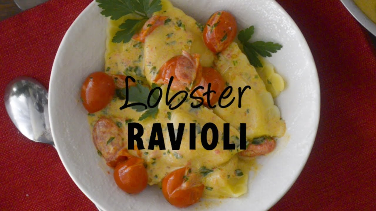 Lobster Ravioli with Tomato Cream Sauce - YouTube