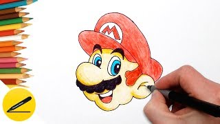 How to Draw Mario (Super Mario Odyssey) Step by Step - Easy Drawing Tutorial and Coloring Pages