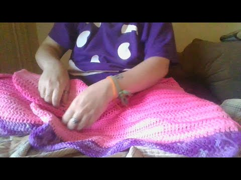 Working on a pink (and purple) variegated baby blanket (crochet)
