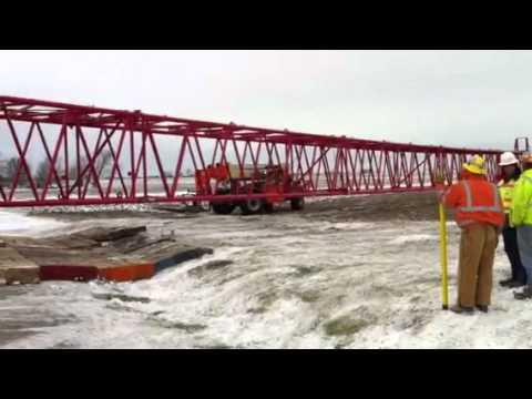 Wind farm crane crossing road