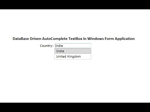 Database Driven Autocomplete TextBox in Windows Form Application