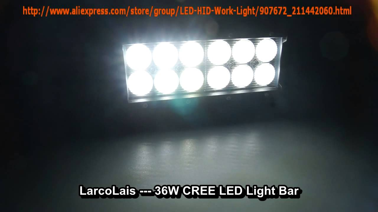 Larcolais 36w cree led light bar for jeep truck atv 4x4 super larcolais 36w cree led light bar for jeep truck atv 4x4 super bright work lights youtube aloadofball Gallery