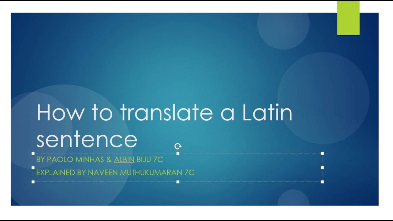 How to Translate a Latin Sentence - YouTube