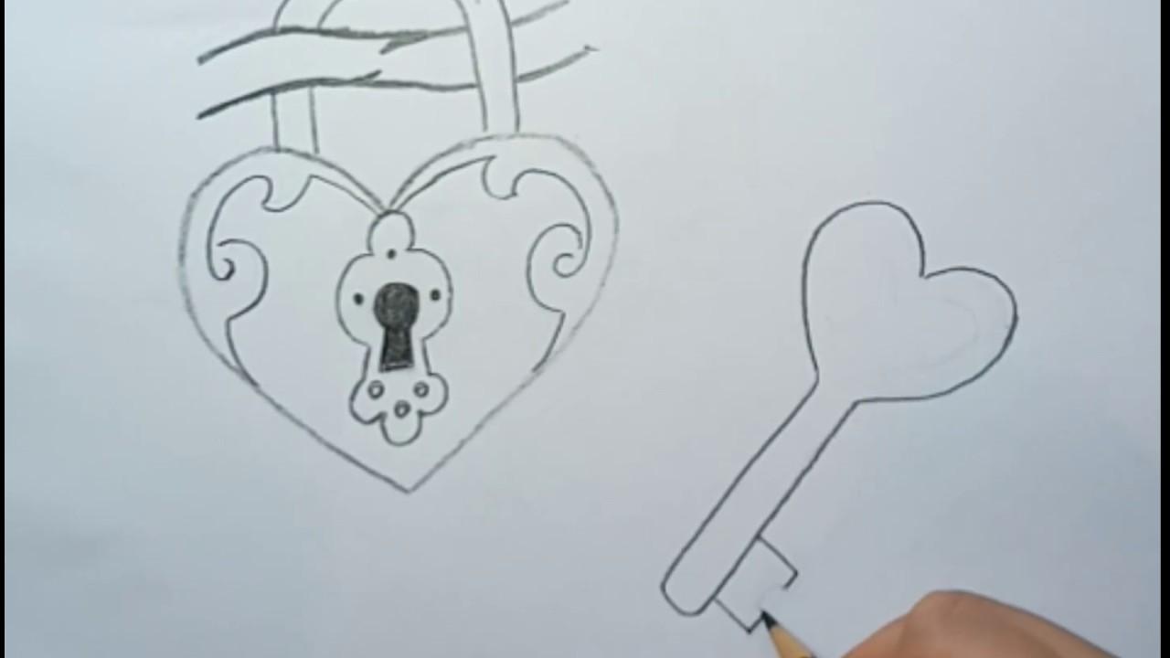 Sevimli Kilit ve Anahtar Çizimi - Kolay Çizimler - How To Draw Lock and Key