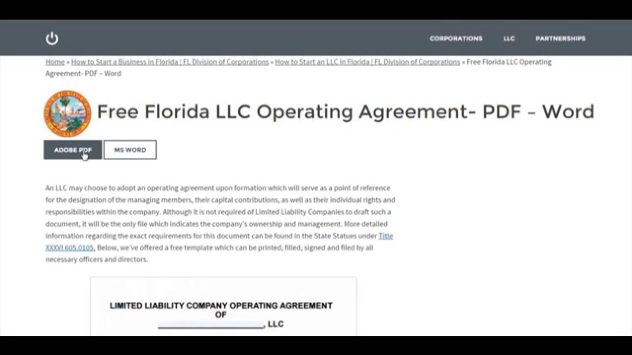 Free Florida Llc Operating Agreement Pdf Word Youtube