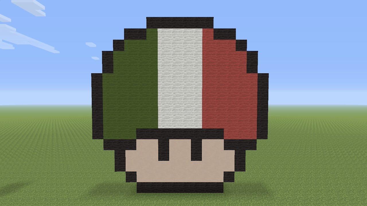 Minecraft Pixel Art - Italian Flag Mushroom