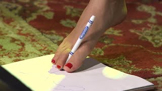 Christina Grimmie Takes the Foot Drawing Challenge | #AskArtist