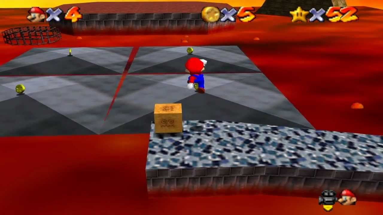 Super Mario 64 Walkthrough - Course 7 - Lethal Lava Land - YouTube